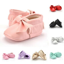 0-18M Baby Infant Newborn Girl Toddler Bowknot Leather Soft Sole Prewalker Shoes