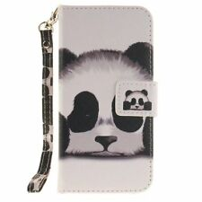 Cute Panda PU Leather Flip Stand Card Slot Wallet Case Cover for Cell Phones
