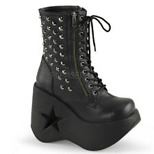 Demonia Dynamite-100 Star Wedge Platform Boots - Gothic,Goth,Punk,Black,Buckle