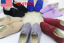 New Autumn Summer Women Lady Flats Oxfords Lace Up Suede Casual Walking Shoes
