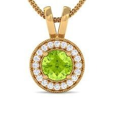 Green Peridot FG VVS Diamond Round Halo Gemstone Pendant Women 18K Solid Gold