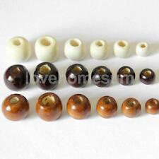 50pcs Wooden Bead Round Wood Beads Big Hole Jewellery Making Craft Color Choice