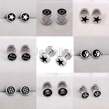 Round Barbell 361L Stainless Steel Men's Earring Punk Gothic Cool Ear Studs