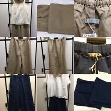 Fog Linen Work ONE SIZE NAVY TAN KHAKI Linen Wide Leg Crop Capri Pants