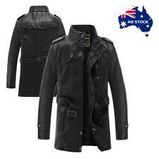 Mens New PU Leather Trench Coat Long Jacket Fleece Lined Warm Winter Outer Wear