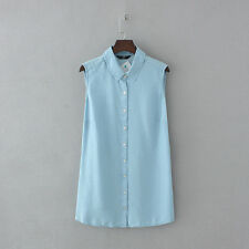 Womens Clothing Now Chambray Denim Long Blouse Plus Size Lyocell Sleeveless Tops