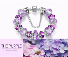 new Silver plated Crystal Bead Charm Bracelet with Safety Chain for Women