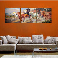 Modern Home Decor Canvas Painting HD Print Picture Art Running horse 3pcs