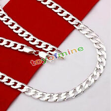 Solid 925 Sterling Silver Plated 4mm wide Cuban Curb Figaro Link Chain Necklace