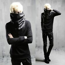 Men Black Faux Leather Oversized Turtleneck Two Tone Long Sleeve Tee Top T-Shirt