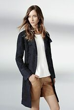 NWT $399 Designer Country Road Trenery LINEN Trench Dress Coat  French Navy 8-14