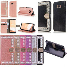Luxury Bling Pearl Crystal Diamond Wallet Flip Case Cover For Apple / Samsung