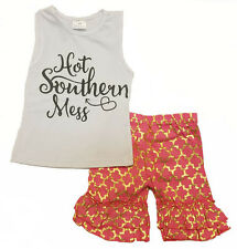 """Baby & Toddler Girl """"Hot Southern Mess"""" 2pc Hot Pink Metallic Boutique Outfit"""