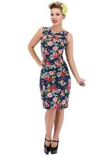 Hearts Roses London Navy Rose Wiggle Pencil Dress Vintage Retro PinUp Rockabilly