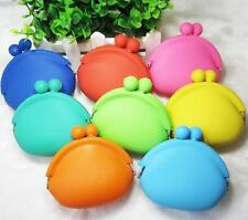 Cute Lady Girl Women Silicone Round Coin Key Purses Wallet Rubber Bag Case
