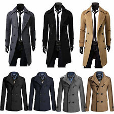 Mens Double Breasted Slim Overcoat Trench Coat Winter Long Sleeve Jackets Blazer