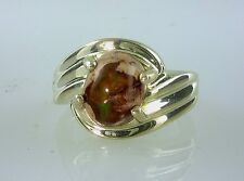 Stunning Natural Mexican Fire Opal in Matrix Ring, 925 Sterling Silver