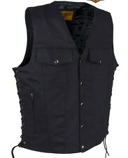 Men's Motorcycle Blk Denim Jean pocket style vest with side laces lightweight