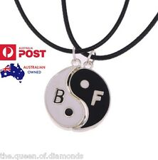 2Pcs Ying Yang BFF Best Friends Necklace Set 925 Sterling Silver/Genuine Leather