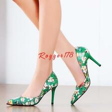 Womens Pointed Toe leather High Heel Colour Floral Stilettos Slip On Pump Shoes