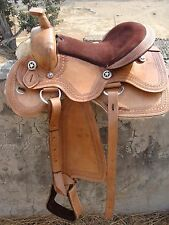 NEW WESTERN HORSE BARREL SADDLE TREELES LEATHER PLEASURE TRAIL SOW WITH TACK SET
