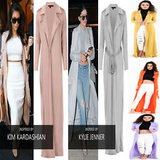 New Womens Ladies Slinky Maxi Long Sleeves Waterfall Belted Duster Coat Jacket