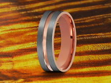 Wedding Band Tungsten Rose Gold & Gray Brushed 6MM-Wedding Ring,Anniversary Band