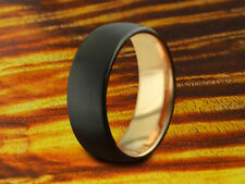 Wedding Band Tungsten Rose Gold,Two Tone Ring,8mm Ring,Black Tungsten Ring,Gift.