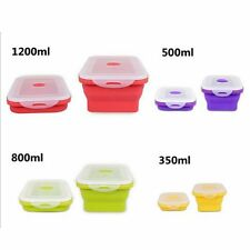 4/1x Folding Food Grade Silicone Collapsible Bento Boxes Food Storage Container