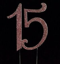 Large Rhinestone 15th Birthday Or Anniversary Mis Quince Cake Topper Pink Gold