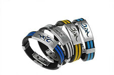 US Men Cuff Bracelet New Stainless Fashion Wristband Steel Bangle Cool Line LO