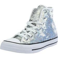 Converse Chuck Taylor All Star Sequin Silver Textile Trainers Shoes
