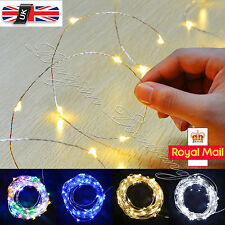 20/30/50/100 LED String  Operated Copper Silver Wire Fairy Lights Xmas Party UK