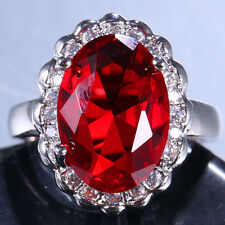 Huge 6.6ct Ruby Women Men 925 Silver Cocktail Ring Wedding Vintage Size 6-10