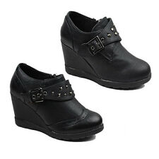 NEW WOMENS LADIES HIGH WEDGE HEEL STUDDED BROGUES LOW ANKLE BOOTS SHOES SIZE 3-8