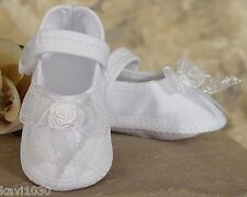 Baby Girls White Shoes Christening Poly Cotton & Organza Size NB, 3M, 6M, 9M