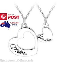 2PC/ Set Mother Daughter Love Heart Silver Pendant Necklace Mum Gift Mothers Day