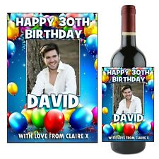 Personalised Happy Birthday Balloons Wine Champagne Bottle Label N114 ANY AGE