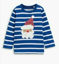 BNWT Next Boys Long Sleeved Blue White Father Christmas Xmas Top 6-9-12 Months
