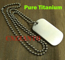 Pure Titanium Military Army ball chain necklace / Titanium Dog tag anti-allergy