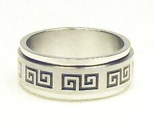 Greek Key Stainless Steel Spin Ring Size 9, 10