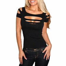 UK Women Black Shirt Ripped Slashed Tight Top Party Clubwear Evening Wear Size 8