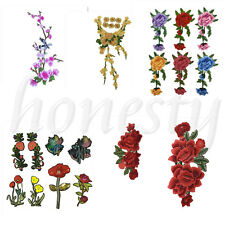 Floral Flowering Branch Embroidered Lace Sew Iron Applique Sewing Patches Trim