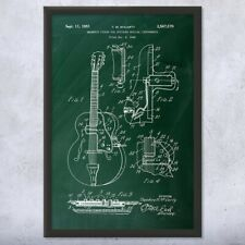 Framed Gibson Guitar Magnetic Pickup Patent Art Print Gift Electric Guitar
