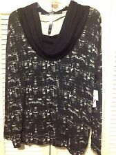 KENSIE, Black & White Stretch Printed Cowl Neck Pull Over Top, (Blouse) NWT