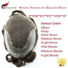 French Lace Mens Toupee Poly Hairpiece Bleached Natural Hairline Indian Hair