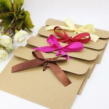 50x Handmade Blank Brown Kraft Paper Envelopes for Wedding Invites w/Ribbon