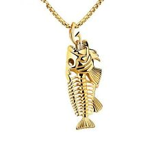 Bohemia Sexy Fish Bone Fossil Jewelry 316L Stainless Steel Mens Pendant Necklace