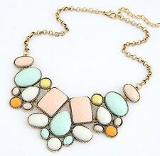 Fashion Statement  Women's Multi Color Resin Pendant Necklace on Link Chain