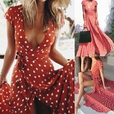 Women's Boho V Neck Long Maxi Split Dress Summer Evening Beach Party Sundress